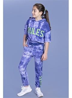 Toontoy Kids Toontoy Kız Çocuk Rules Baskılı Batik Desenli Crop Eşofman Takımı